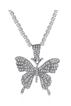 Rhinestones Butterfly Necklace N3840-S - Gun Metal