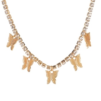 Butterfly Rhinestone Necklace N3841 - Gold
