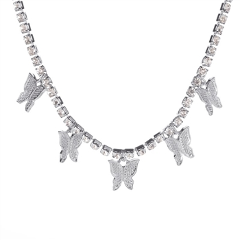 Butterfly Necklace N3841 - Silver