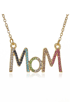 Mom Rhinestone Necklace N3846