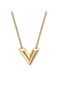 V Stainless Steel Necklace N3857 - Gold