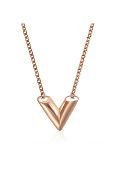 V Stainless Steel Necklace N3857 - Rose Gold