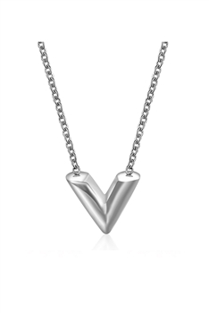 V Stainless Steel Necklace N3857 - Silver