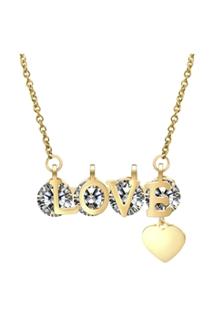 LOVE Rhinestone Stainless Steel Necklace N3881 - Gold