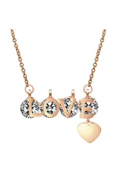 LOVE Rhinestone Stainless Steel Necklace N3881 - Rose Gold
