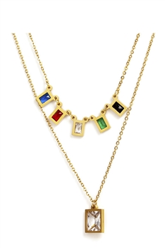 Square  Stainless Steel  Multilayer Chains Necklace Set N3884