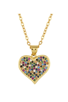 Heart Zircon Copper Chain Necklace N3888