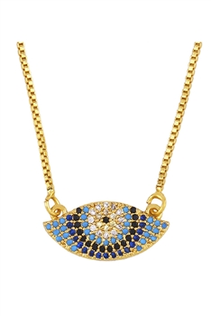 Evil Eye Zircon Copper Chain Necklace N3892
