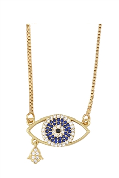 Evil Eye Zircon Copper Chain Necklace N3893