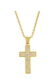 Cross Zircon Copper Chain Necklace N3897
