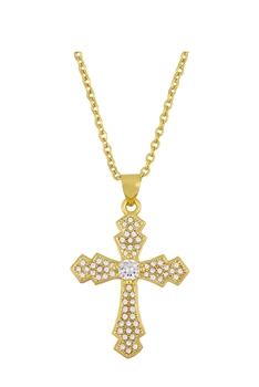 Cross Zircon Copper Chain Necklace N3898