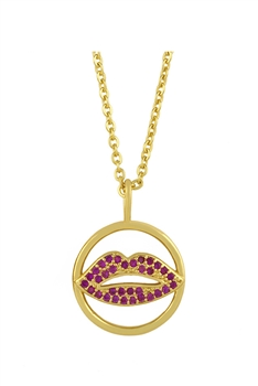 Lip Zircon Copper Chain Necklace N3899