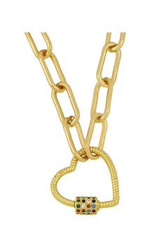 Heart Zircon Copper Chain Necklace N3900 - Multi