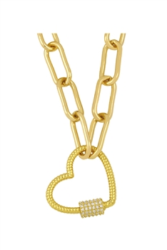 Heart Zircon Copper Chain Necklace N3900 - White