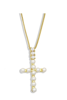 Cross Zircon Copper Chain Necklace N3901