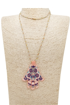 Palm Seed Bead Pendant Necklace N3904 - Multi