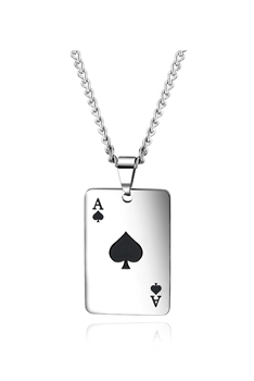 Poker A  Stainless Steel Chain Necklace N3923 - Black