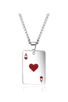 Poker A  Stainless Steel Chain Necklace N3923 - Red