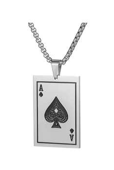 Poker A  Stainless Steel Chain Necklace N3924 - Silver