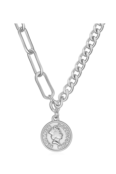 Coin Stainless Steel Necklace N3930 - Silver