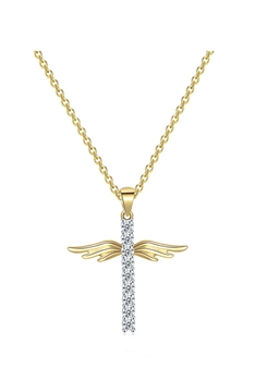 Cross Wings Zircon Copper Necklace N3932 - Gold