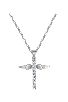 Cross Wings Zircon Copper Necklace N3932 - Silver