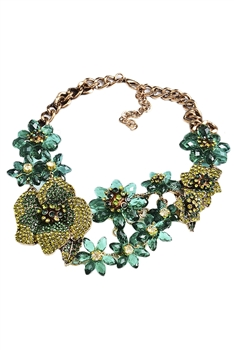 Flower Rhinestone Chain Necklace N3934 - Green