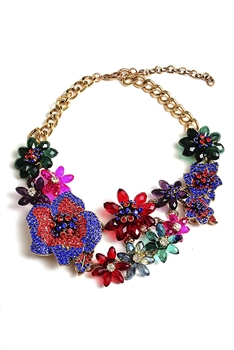 Flower Rhinestone Chain Necklace N3934 - Multi