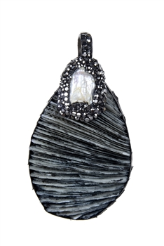 Shell Stone Necklace Pendants P0005 - Grey