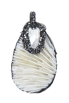 Shell Stone Necklace Pendants P0005 - White