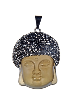 Fashion White Clear Buddha Necklace Pendant P0020-S-Grey
