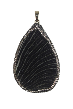 Shell Natural Stone Pendants P0032 - Black