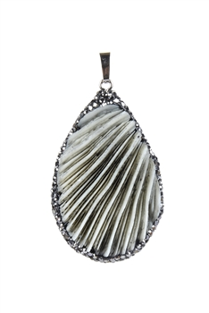 Shell Natural Stone Pendants P0032 - Grey