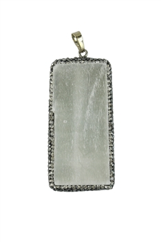 White Rectangle Plaster Stone Statement Pendants P0068