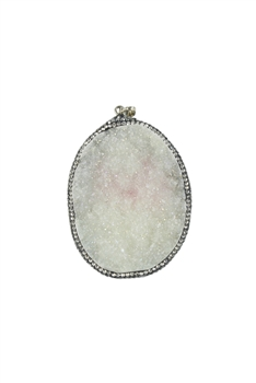 White Natural Druzy Stone Statement Pendants P0077