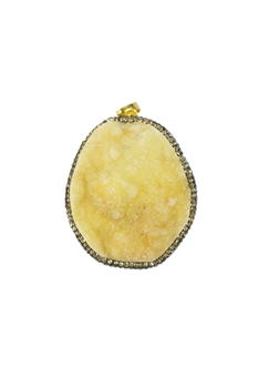 Beige Druzy Stone Necklace Pendants P0082