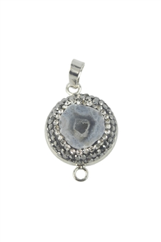 Natural Stone Rhinestone Pave Necklace Pendants P0089 - Black