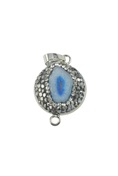 Natural Stone Rhinestone Pave Necklace Pendants P0089 - Blue