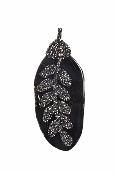 Fashion Stone Crystal Pave Leaf Shape Necklace Pendants P0154