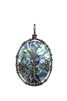 Mother of Pearl Metal Tree Necklace Pendant P0225