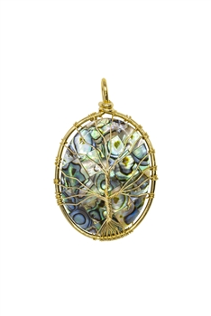 Mother of Pearl Metal Tree Necklace Pendant P0225 - Gold