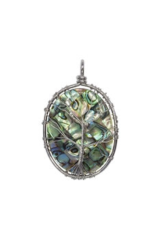 Mother of Pearl Metal Tree Necklace Pendant P0225 - Silver