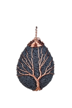 Volcanic Stone Metal Tree Statement Necklace Pendant P0226
