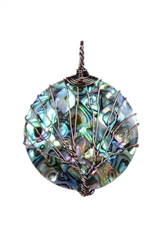 Mother of Pearl Metal Necklace Pendant P0270