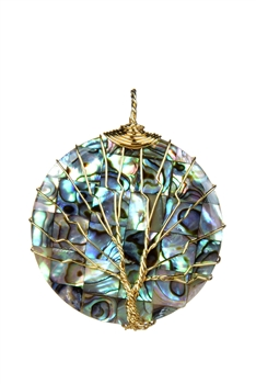 Mother of Pearl Metal Necklace Pendant P0270 - Gold