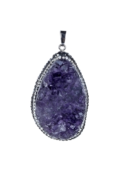 Fashion Women Purple Druzy Stone Statement Pendant P0285