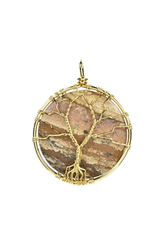 Tree of Life Picture Jasper Stone Metal Pendant P0290 - Picture Jasper