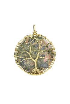 Tree of Life Picture Jasper Stone Metal Pendant P0290 - Unakite