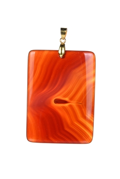 Square Shaped Stone Pendants P0317 - Orange