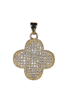 Plus Shaped Crystal Metal Pendant P0337 - Gold